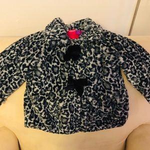 Animal print faux fur toddler girl winter coat